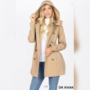 Double Breasted Cotton Twill Trench Coat